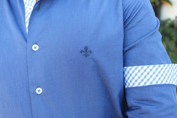 Camisa Dudalina com Detalhe Xadrez