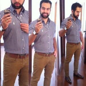 Saulo Medeiros veste: Calça Marrom, Camisa Listrada Roxo e Branco: Look Social para Trabalhar