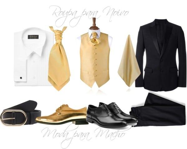 Roupa de Noivo Clássica - Roupa de Noivo Simples - Roupa de Noivo Dourada - Dicas de Roupa para Noivo - Letícia e Saulo - Moda para Casamento - Casar em Las Vegas - Casamento no Exterior - Destination Wedding - Moda Masculina Casamento - Moda para Homem Casamento
