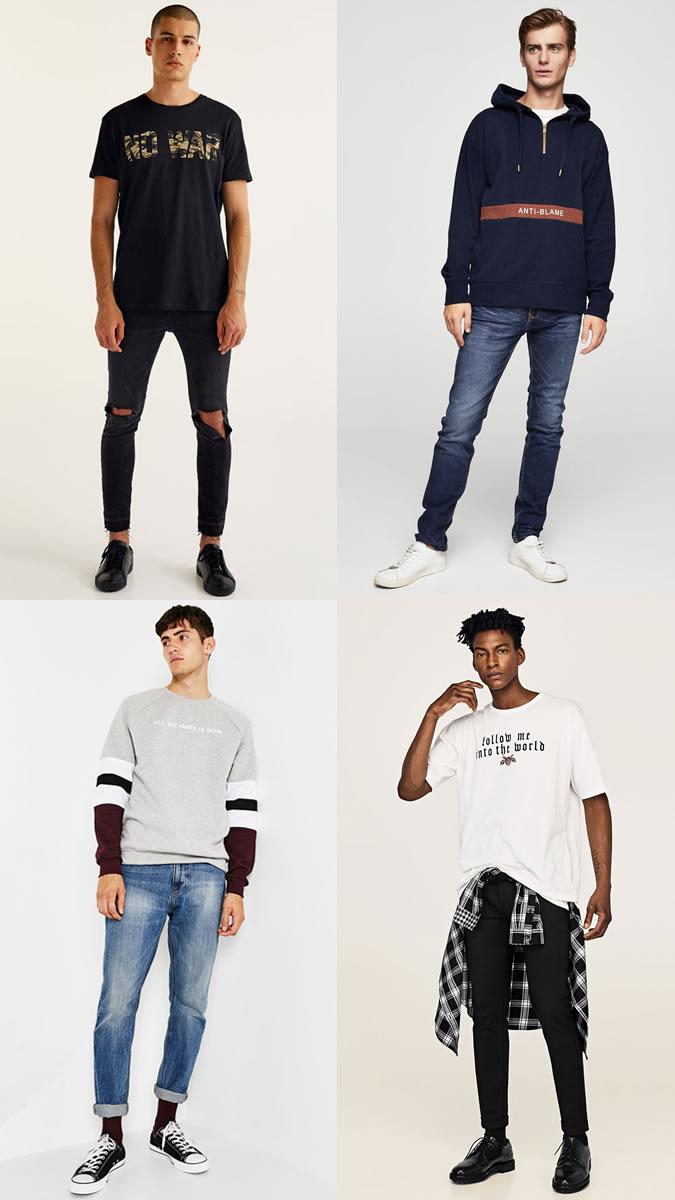 Camisas masculinas com escritas